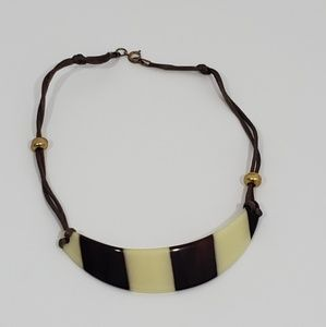 Boho choker necklace brown and cream